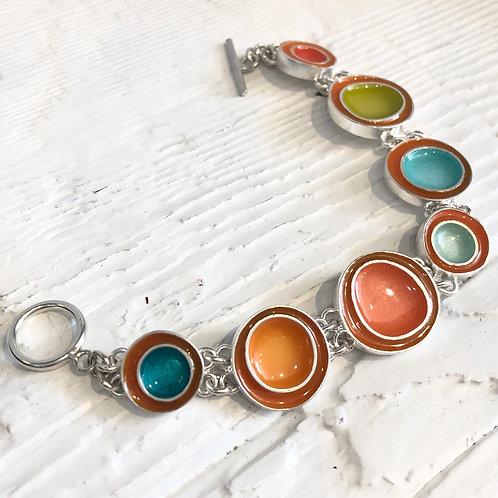 Silver and Enamel Colorful Bracelet