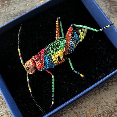 Beaded Grasshopper Pin