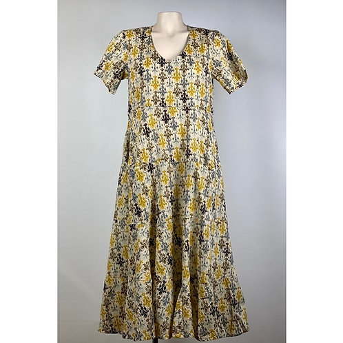 Yellow Patterned Cotton Dress