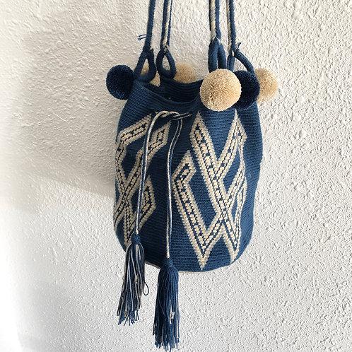 Blue and White Wayuu Mini Bag