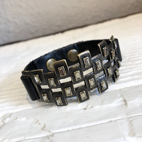 Bronze and Crystal Leather Bracelet