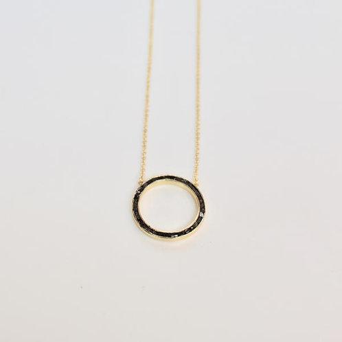 Black Diamond Circle Necklace