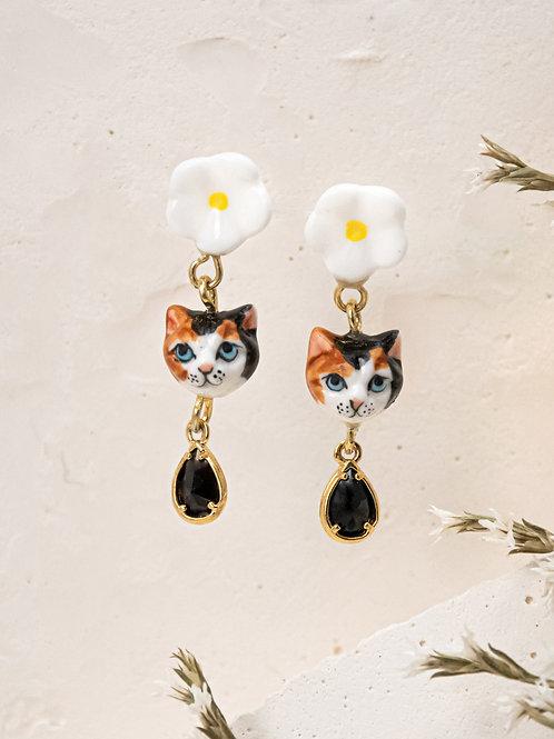 Cat and Flower pendants