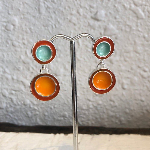 Enamel Turquoise and Orange Earrings