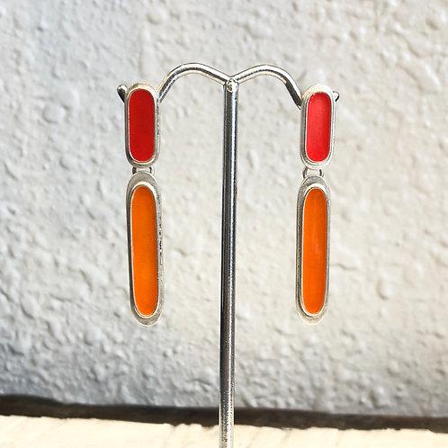 Red and Orange Enamel Earrings