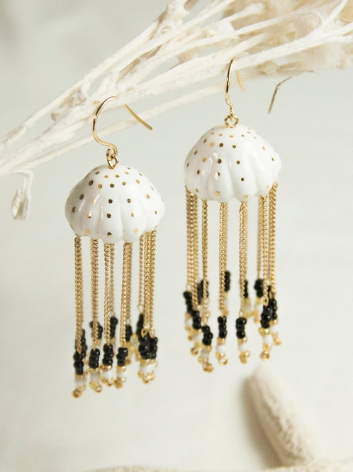 White and Gold Jellyfish Earrings