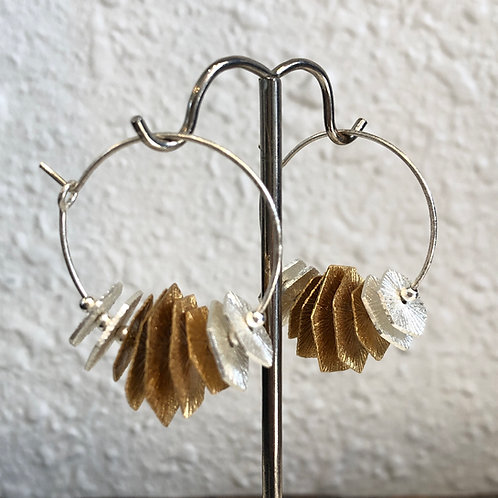 Silver and Gold Disc Hoops