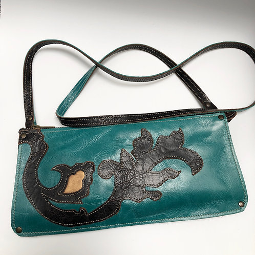 Turquoise and Black Leather Crossbody Bag