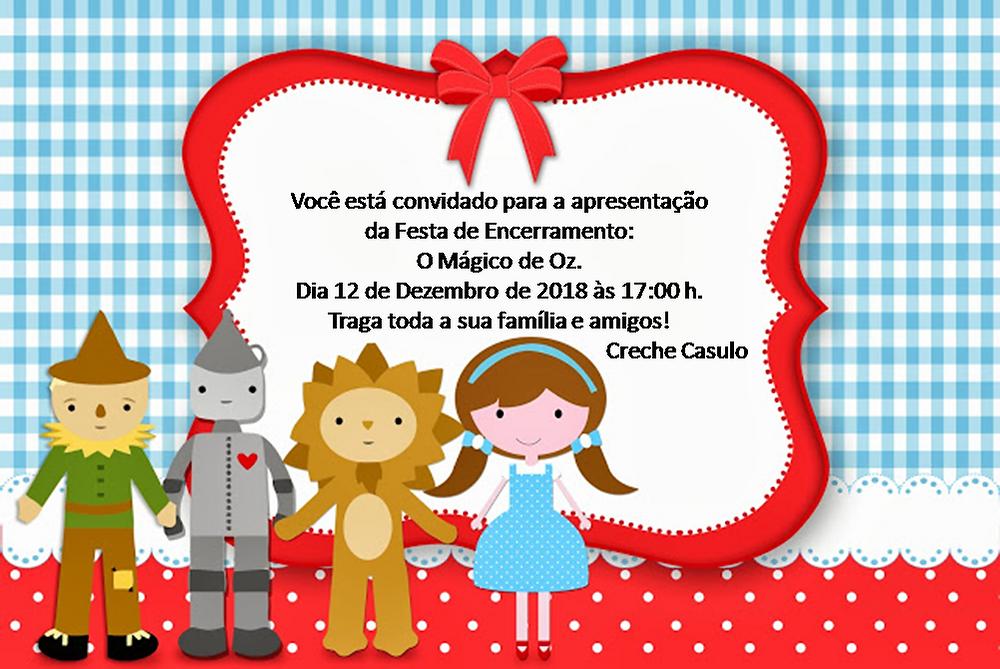 Convite da festa de encerramento do ano letivo do projeto Creche Casulo.
