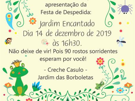 """Para encerrar o ano letivo, o projeto Creche Casulo apresenta o """"Jardim Encantado"""" em dezembro"""