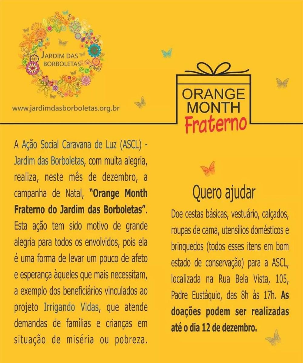 """Campanha de Natal, """"Orange Month Fraterno do Jardim das Borboletas""""."""