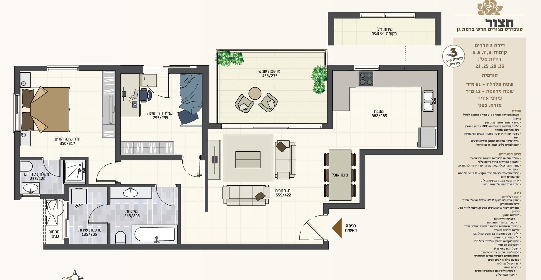 תכניות 3 חדרים- עורף- חצור