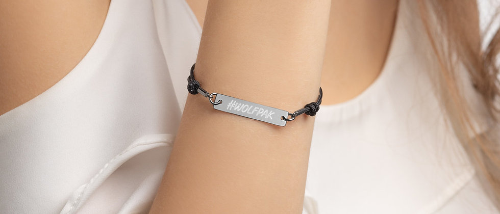 """#WOLFPAK"" Engraved Silver Bar String Bracelet"