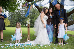 couple with flower girl