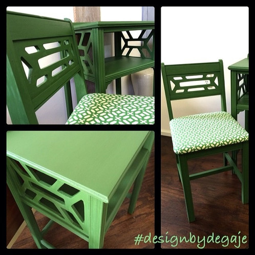 Retro Moderen Green Accent Table U0026 Chair Set