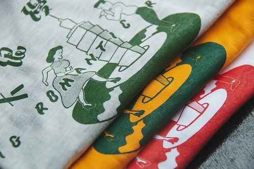 大浪漫經典 LOGO T-Shirt.城市灰/熱帶黃/經典白