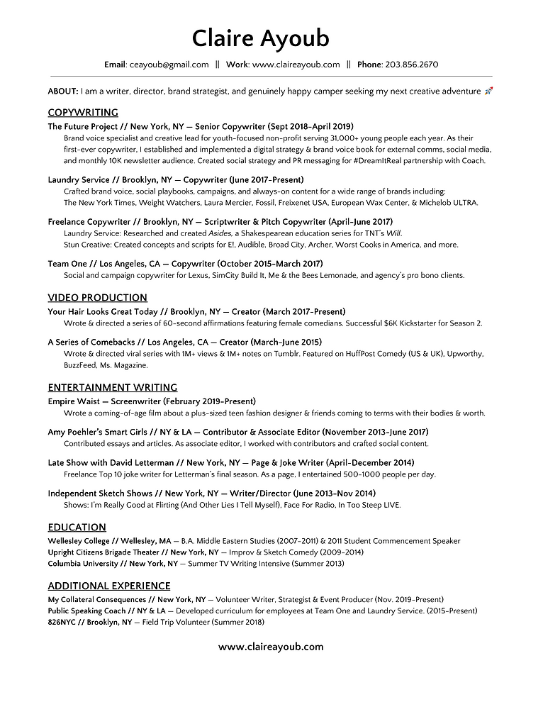 Claire Ayoub_Resume_Spring 2019.png