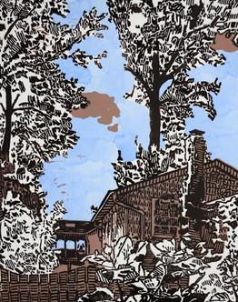 Brian Kelley, Old Oaks, linocut and wate
