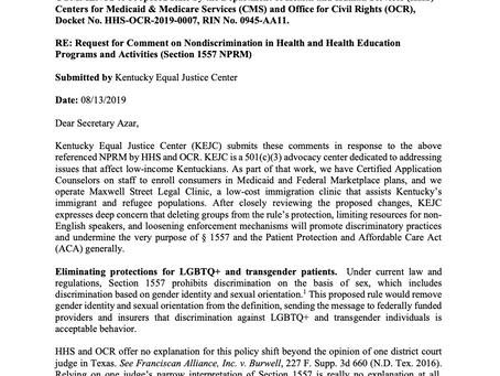 KEJC Opposes Trump Administration's Efforts to Make LGBTQ+ Discrimination in Health Care Easier