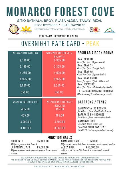 2019_Overnight Rate Card_Regular -PEAK (