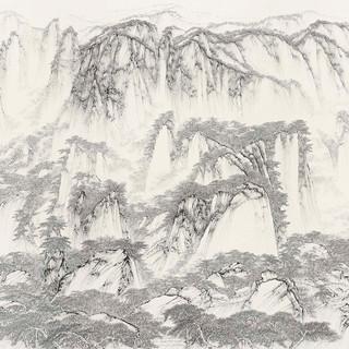 熊海 《黃山奇峰圖》 124×249cm