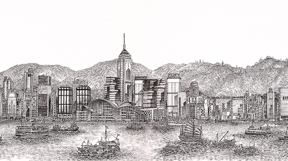 Oil-Pen Sketch by Chan Kau On
