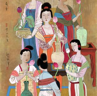 胡永凱 《荷氣·夢回大唐》 188×96.5cm