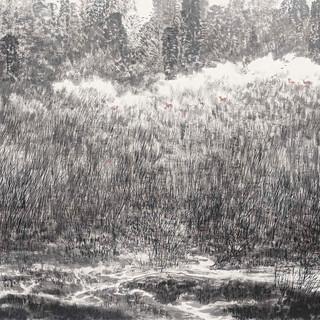 趙漢忠《漢江水清清,葦中有鹿鳴》 96×179cm