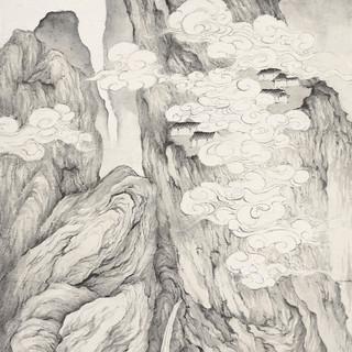 雨石 《溪山隱逸》 178×96cm