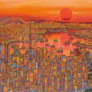 陳球安 《紅日光輝耀香江》 78×177cm