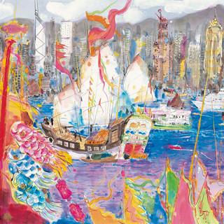 陳田恩 《維多利亞港》 96×179cm