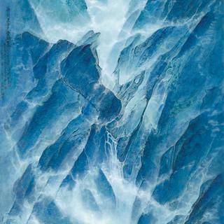 正奇《神山聖水 香格里拉》 177×95cm