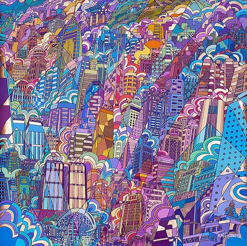 Watercolor & Oil-Pen Sketch by Chan Kau On