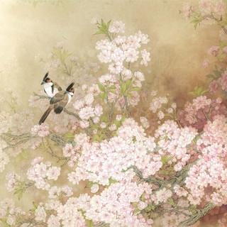 周中耀 《三月天,櫻花妍》 91×173cm