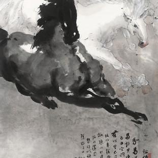 李源海 《駟馬圖》 180×97cm