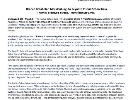 Bronco Great, Karl Mecklenburg, to Keynote Joshua School Gala Theme: Standing Strong. Transforming L