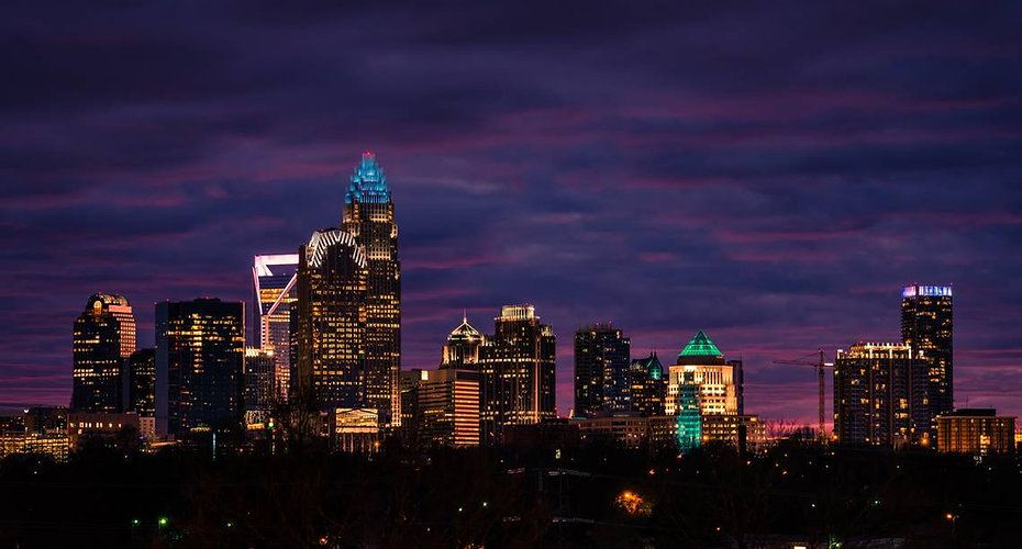 Winter Sunset In Charlotte, North Caroli