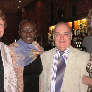 Louth, 2013, after Anne Fridal's concert. Diana Markham, Sandra Jantuah, Prisca Baillie's brother Patrick and Penny T.