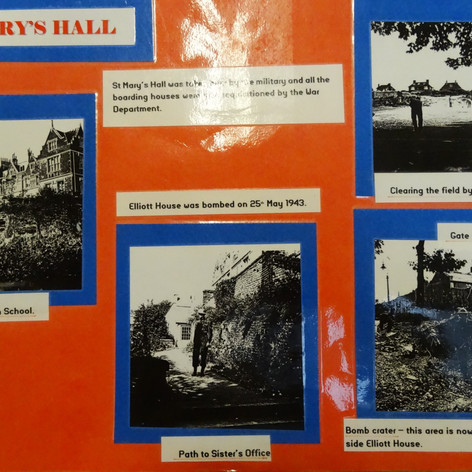 A collage of images taken after the bombing of Hervey Terrace, which led to the building of Elliott House on the same site.