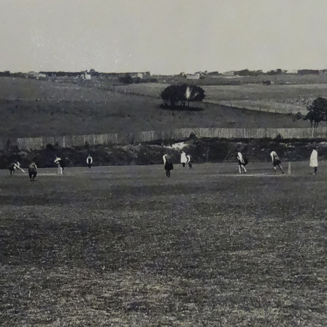 Playing Cricket on the Manor Field c1933