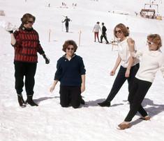 Jeanette Cureton's (Smith 1961-62) photo. School Ski trip Saas-Fee, Switzerland. Left to right: Elizabeth McLeish, Judy Allen, Jenny Wray (Riley), and Sherry Carter (Coe).
