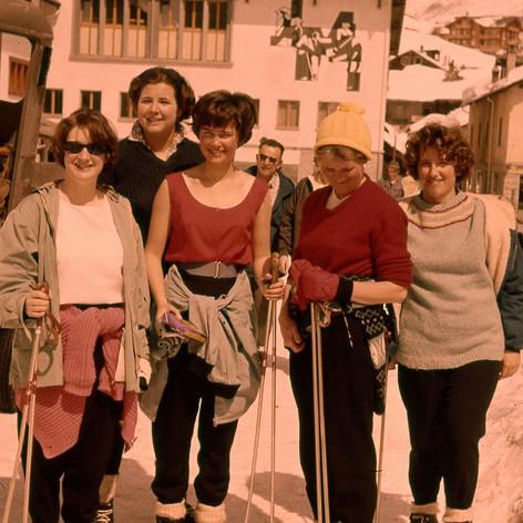 Jeanette Cureton's (Smith 1961-62) photo. School Ski trip Saas-Fee, Switzerland. Left to right: Elizabeth McLeish, Katharine Campion (known as KC), Elizabeth Julyan (Allwright), Mrs. Eggleton, and Judy Allen