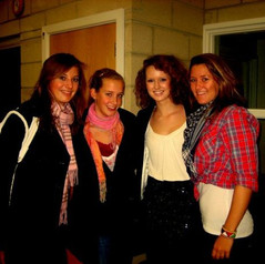 2009 - On the right -  Katy Feek (2006-08) and Laura Valentine (-2009) . On the left, a German exchange student, name unknown.