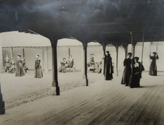 The girls are wearing uniform which was also worn for hockey and tennis; it is thought to be an example of one of the earliest school uniforms. The photographs are thought to have been taken around 1880, when it was decided that dress would no longer be provided by the Hall. Uniformity would not be required; the pupils should simply dress neatly and with propriety. The wearing of uniform stated again in the early twentieth century.
