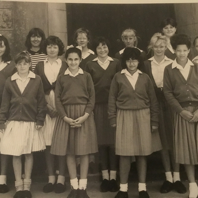Maths Group 1987/88 - Top row Carole Baker (Staff), Alex Kellet, Rachel Prat, Jocelyn Crouch Next row Vicci Robinson, Caroline Fallowfield, Alice Bolton, Alex Exley, Charlotte Davie, Bottom row Anna Stemp, Janan Kassir, Panita Vig, Michelle Corfield