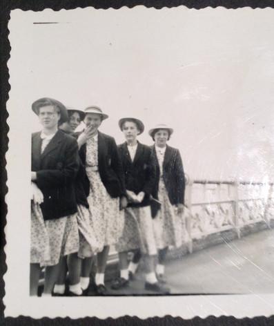 Sunday group walk, in summer school uniform, 1953. Joan King, arbara Bashford, Gillian Weston (Metcalf), Jenny Booth and Sheila ? Photo supplied by Susan Metzner