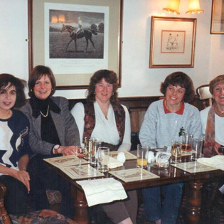 March 1996 - L-R, Fatima Dewshi, Sue Hall (Davis), Lis Eastham (Ferguson), Kathy Howard, Claire Bowes - Susan Graves took the photo.