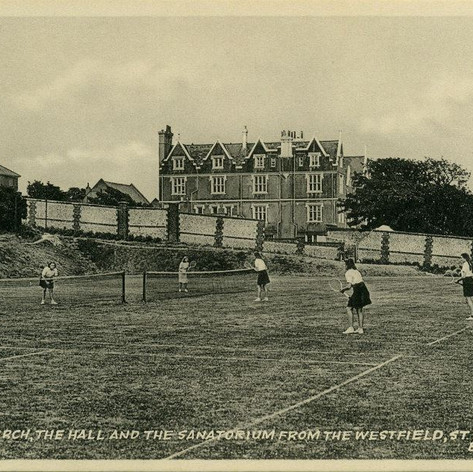 The Hall, Sanatorium & St Mark's Church from the West Field