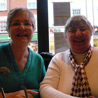 Ann Bell (nee Bearne) and Kim Cook (nee Celia Kimmins), photo taken by Susanne Rea (nee Nicholls), when they met up in Fulham – circa 2009
