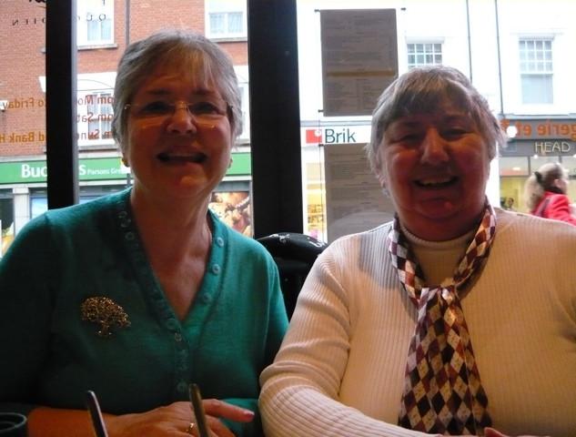 Ann Bell (nee Bearne) and Kim Cook (nee Celia Kimmins), photo taken by Susanne Rea (nee Nicholls), when they met up in Fulham – circa 2009